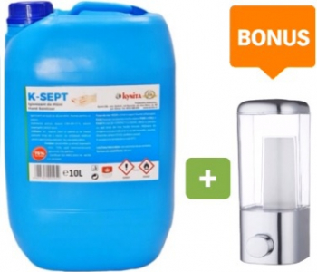 Pachet promo Dezinfectant maini K-SEPT 10L+ BONUS Dispenser manual pentru gel dezinfectant 360ml Gel antibacterian