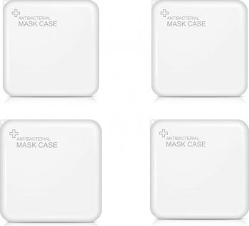 Set 4 bucati cutii portabile pentru depozitare si protectie masca Kn95 alb EX2 Masti chirurgicale si reutilizabile