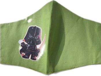 Masca protectie copii DARTH VADER din desene animate tip STAR WARS din bumbac verde reutilizabila Masti chirurgicale si reutilizabile