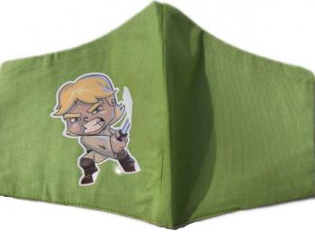 Masca protectie copii LUKE din desene animate tip STAR WARS din bumbac culoare verde reutilizabila Masti chirurgicale si reutilizabile