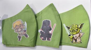 Set 3 bucati Masti protectie copii personaje YODA LUKE DARTH VADER din desene animate tip STAR WARS din bumbac verde reutilizabile Masti chirurgicale si reutilizabile