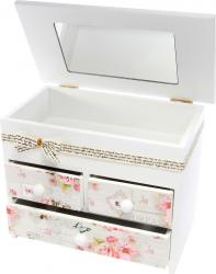 Caseta de bijuterii cu fundita imprimeu trandafiri A34-23 Casete Bijuterii