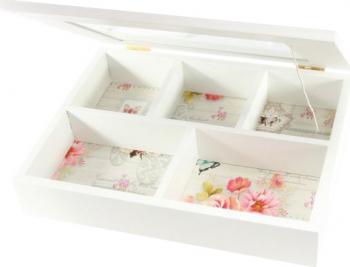 Caseta de bijuterii lemn imprimeu floral oglinda A34-34 Casete Bijuterii