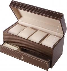 Cutie pentru 4 ceasuri si bijuterii piele ecologica maro Z34-02 Accesorii ceasuri