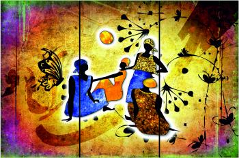 Set Tablouri Canvas 3 Piese Africa Retro 20 x 40 cm Tablouri