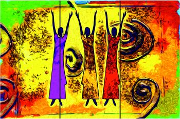 Set Tablouri Canvas 3 Piese Africa Retro Vintage 20 x 40 cm Tablouri
