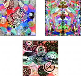 Set Tablouri Canvas 3 Piese Color Abstract 33 and times 33 cm Tablouri