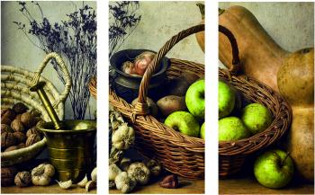 Set Tablouri Canvas 3 Piese Fall Harvest Baskets 20 x 40 cm Tablouri