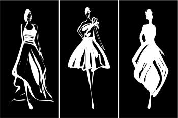 Set Tablouri Canvas 3 Piese Fashion Woman Sihoette 20 x 40 cm Tablouri