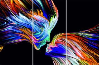 Set Tablouri Canvas 3 Piese Streaks Of Color 20 x 40 cm Tablouri