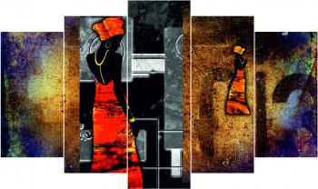 Set Tablouri Canvas 5 Piese Africa Retro 2 100 x 60 cm Tablouri