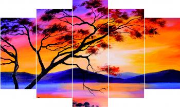 Set Tablouri Canvas 5 Piese Watercolor 100 x 60 cm Tablouri