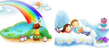 Tablou canvas pentru camera copii curcubeu si nori 2 piese 33x33 cm Tablouri