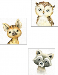 Tablou forex pentru camera copii Cute Animal 3 piese 33x33 cm Tablouri