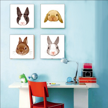 Tablou forex pentru camera copii desene iepuras craciun 4 piese 33x33 cm Tablouri