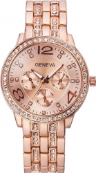 Ceas dama casual elegant Quartz Geneva model Premium G192 curea metal zale afisaj analog rose gold