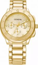 Ceas dama casual elegant Quartz Geneva model Premium G25 curea metal zale afisaj analog gold