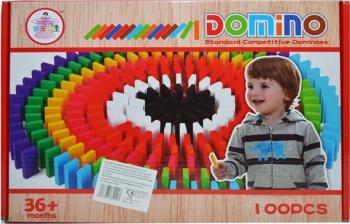Domino Din Lemn Colorat - 100 Piese/Cutie Jocuri de Societate
