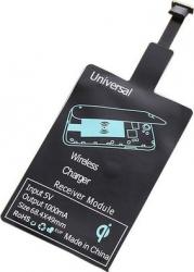 Adaptor incarcare wireless compatibil QI pentru telefon cu conector microUSB tip A negru