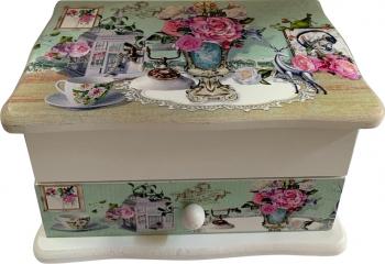 Caseta de bijuterii cu imprimeu floral sertar oglinda C10-08 Casete Bijuterii