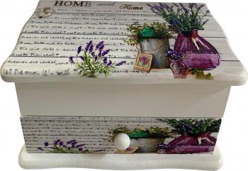 Caseta de bijuterii Home lavander lemn alb oglinda C10-07 Casete Bijuterii