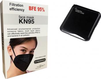 Masti de Protectie KN95 FFP2 10 Bucati masca NEGRU plus 4 bucati cutii portabile pentru protectie masti Masti chirurgicale si reutilizabile