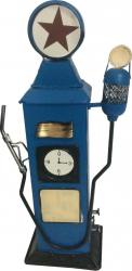 Pusculita pompa de gaz vintage metal albastru Jucarii