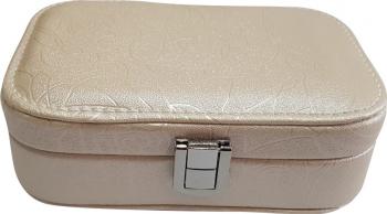 Caseta de bijuterii piele ecologica cream Casete Bijuterii