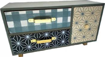 Caseta de bijuterii lemn sertare abstract 31 x 14 cm Casete Bijuterii