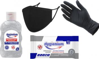 Hygienium Protective Kit - pachet masca manusi gel si servetele umede Masti chirurgicale si reutilizabile
