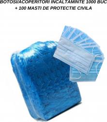 PACHET PROMI 1000 BOTOSI / ACOPERITORI INCALTAMINTE +100 MASTI PROTECTIE CIVILA Masti chirurgicale si reutilizabile