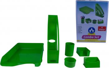 Set birou EVOffice din plastic Verde 6 piese