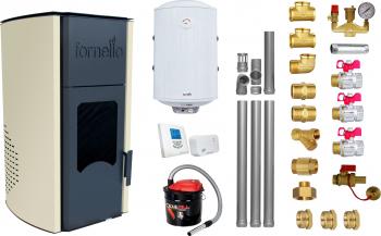 Pachet Termosemineu peleti Fornello Royal Ivory 30 kw complet echipat pentru incalzire pompa circulatie vas expansiune automatizare kit Termoseminee