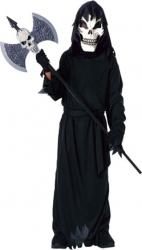 Costum deghizare baieti in Moartea fioroasa cu masca de schelet la bal mascat serbare sau petrecere Halloween negru 14 ani
