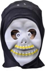 Masca deghizare cap de mort cu dinti galbeni si acoperitoare neagra pentru costumatie de Halloween Topi Dreams Decoratiuni petreceri