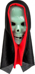 Masca deghizare cap de mort fosforescenta la intuneric si cu acoperitoare neagra pentru costumatie de Halloween Decoratiuni petreceri
