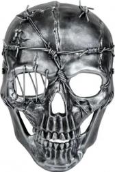 Masca deghizare cap de mort imitatie fier si sarma ghimpata argintie pentru costumatie de Halloween Topi Dreams Decoratiuni petreceri