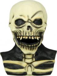 Masca din latex acoperire fata si gat detalii realiste schelet cap de mort pentru deghizare horror Halloween alb murdar cu negru Decoratiuni petreceri