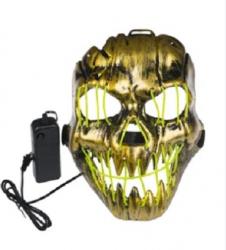 Masca electrica pentru petrecere Haloween cu lumini LED vizibile in intuneric culoare verde fosforescent deghizare bal mascat Topi Dreams Decoratiuni petreceri