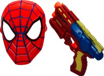 Set masca spiderman si pistol de jucarie cu 3 proiectile isp20 Jucarii