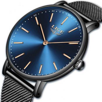 Ceas de mana dama Elegant Luxury Quartz Analog Subtire Otel inoxidabil Rezistent la socuri Rezistenta la apa 3 ATM Negru/Albastru
