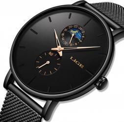 Ceas de mana dama Lige Quartz Clasic Elegant Fashion Business Ultra subtire Rezistent la purtare Negru