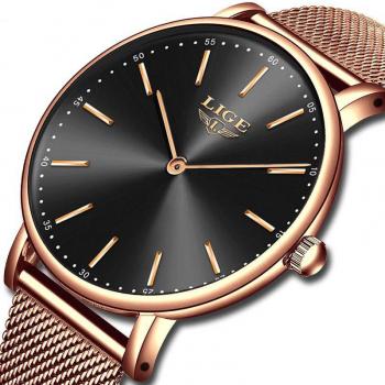 Ceas de mana dama Elegant Luxury Quartz Analog Subtire Otel inoxidabil Rezistent la socuri Rezistenta la apa 3 ATM Auriu/Negru