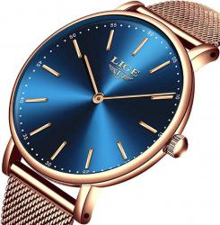 Ceas de mana dama Elegant Luxury Quartz Analog Subtire Otel inoxidabil Rezistent la socuri Rezistenta la apa 3 ATM Auriu/Albastru