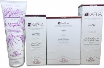 Set ingrijirea tenului 3 produse si cadou crema corp organica cu ulei de cocos si magnolie Lakshmi Masti, exfoliant, tonice