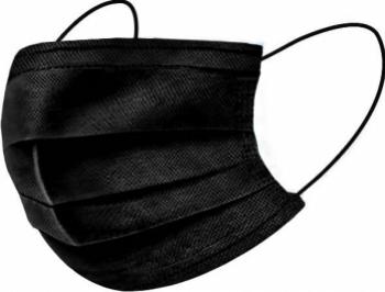 Set 50 buc. masca de protectie premium de unica folosinta 3 straturi neagra Masti chirurgicale si reutilizabile