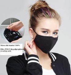 Masca din bumbac cu filtru PM 2.5 cu carbon activ reutilizabila civila nemedicala