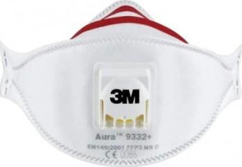 Masca de protectie respiratorie FFP3 3M Aura 9332+ NR D cu valva Cool Flow certificat CE 2797 Masti chirurgicale si reutilizabile