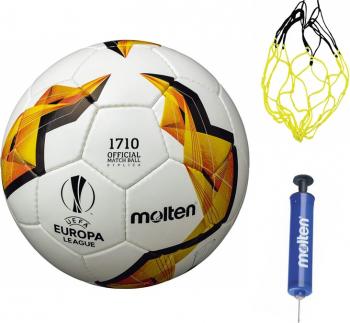 Minge fotbal Molten F5U1710 cusuta manual piele PVC antrenament model UEFA Europa League 19/20 GROUP STAGE pompa si plasa