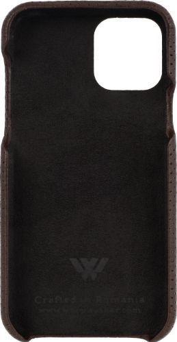 Husa de piele naturala Woop Iphone 11 Pro soft back Pierced maro inchis Huse Telefoane